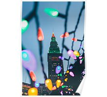 Terminal Tower - Cleveland - Christmas Time Poster
