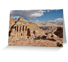 The Monastery Al Deir in ancient town Petra Greeting Card