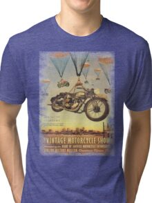 Vintage Motorcycle Show Poster Tri-blend T-Shirt