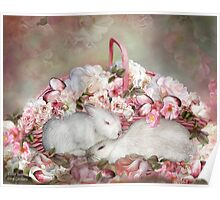 Easter Surprise - Bunnies And Roses Poster