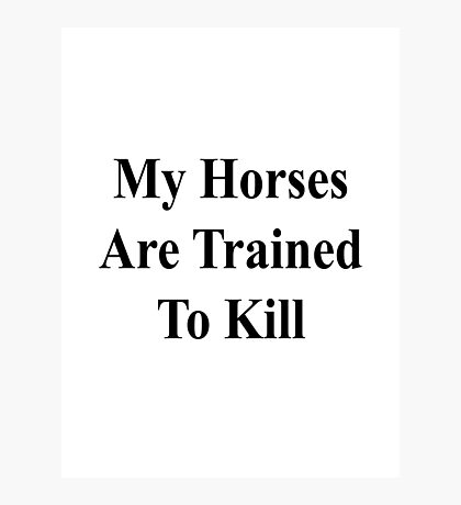 My Horses Are Trained To Kill  Photographic Print