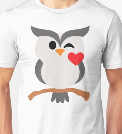 Night Owl Emoji Flirt and Blow Kiss Face Unisex T-Shirt