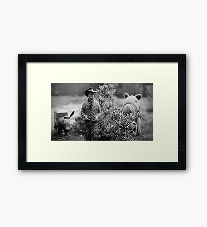 Cowboy, Horse & Ass Framed Print
