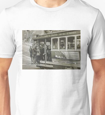 San Francisco Cable Car in B&W Unisex T-Shirt