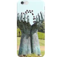 Hands and molecules iPhone Case/Skin