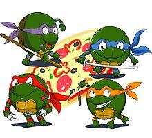teenage mutant ninja turtles love pizza by Koalka