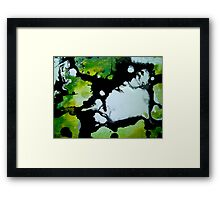 Challenger abstract art green black and white painting Framed Print