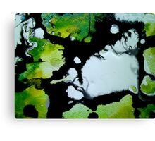 Challenger abstract art green black and white painting Canvas Print