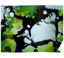 Challenger abstract art green black and white painting Poster