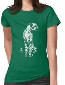 Cheetah Vintage Style Black and White  Womens Fitted T-Shirt