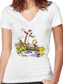 Calvin Hobbes Women's Fitted V-Neck T-Shirt