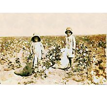 Jewel and Harold Walker, 6 and 5 years old Cotton Pickers, Comanche County, Oklahoma, USA Photographic Print