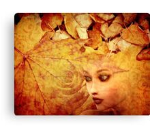 Autumn background and girl Canvas Print
