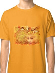 Autumn background and girl Classic T-Shirt