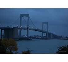 Before the Dawn on a Rainy Day at the Throgs Neck Bridge Photographic Print