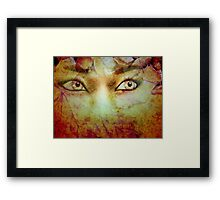 Autumn background and girl 2 Framed Print