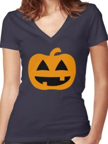 Happy Jack-O-Lantern Pumpkin Women's Fitted V-Neck T-Shirt