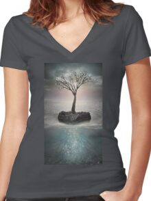 The Roots Below the Earth (Tree of Solitude) Women's Fitted V-Neck T-Shirt