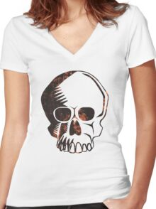 Grunge Skull Women's Fitted V-Neck T-Shirt