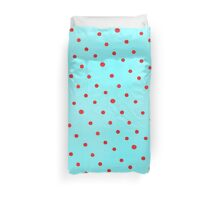 Sky Blue and Red Polka Dots Duvet Cover