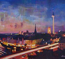Illuminated Berlin Skyline at Dusk by artshop77