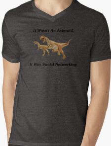 Social Networking: The Real Cause Of Dinosaur Extinction Mens V-Neck T-Shirt