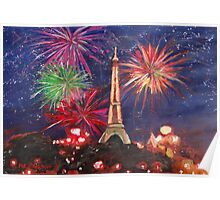 Paris New Years Eve firework Poster