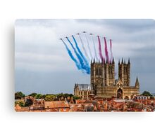 Red Arrows over Lincoln Cathedral Canvas Print