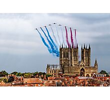 Red Arrows over Lincoln Cathedral Photographic Print