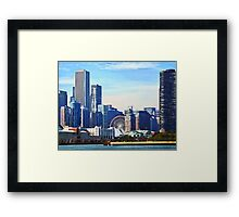 Chicago IL - Chicago Skyline and Navy Pier Framed Print