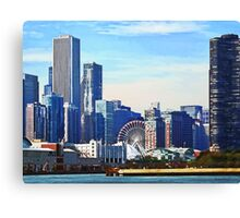 Chicago IL - Chicago Skyline and Navy Pier Canvas Print