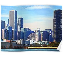 Chicago IL - Chicago Skyline and Navy Pier Poster