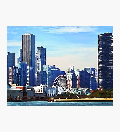 Chicago IL - Chicago Skyline and Navy Pier Photographic Print