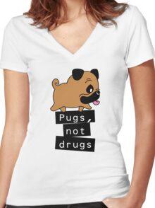 Little Pugs Not Drugs Women's Fitted V-Neck T-Shirt