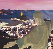 Rio De Janeiro With Christ The Redeemer at night by artshop77