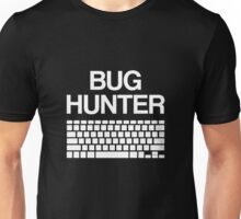 BUG HUNTER With Keyboard - Design For Test Engineers White Font Unisex T-Shirt