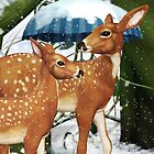 Fawn Deer Winter Snow Scene Greeting Card by xgdesignsnyc