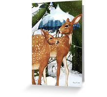 Fawn Deer Winter Snow Scene Greeting Card Greeting Card