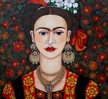 Frida Kahlo with butterflies pillow or tote bag by Madalena Lobao-Tello