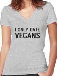 I ONLY DATE VEGANS Women's Fitted V-Neck T-Shirt