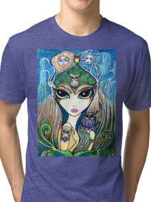 Owlete The Owl Queen, by Sheridon Rayment Tri-blend T-Shirt
