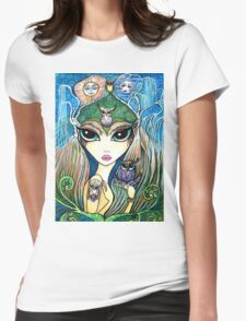 Owlete The Owl Queen, by Sheridon Rayment Womens Fitted T-Shirt