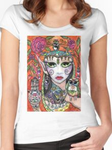 Gypsy Art Owl Oracle by Sheridon Rayment Women's Fitted Scoop T-Shirt