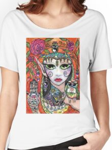 Gypsy Art Owl Oracle by Sheridon Rayment Women's Relaxed Fit T-Shirt