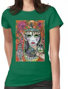 Gypsy Art Owl Oracle by Sheridon Rayment Womens Fitted T-Shirt
