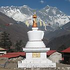 Chorten with view of Everest at Tengboche  by Jan Vinclair