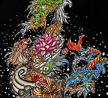 Japanese Dragon, koi dragon, koi fish by Adam  Parsons