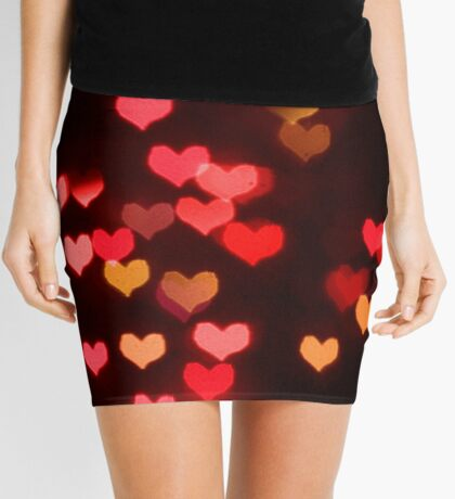 Red bokeh valentine hearts Mini Skirt