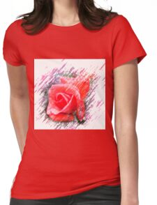 Digitally enhanced orange rose flower Womens Fitted T-Shirt