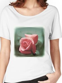 Digitally enhanced orange rose flower with green foliage background  Women's Relaxed Fit T-Shirt